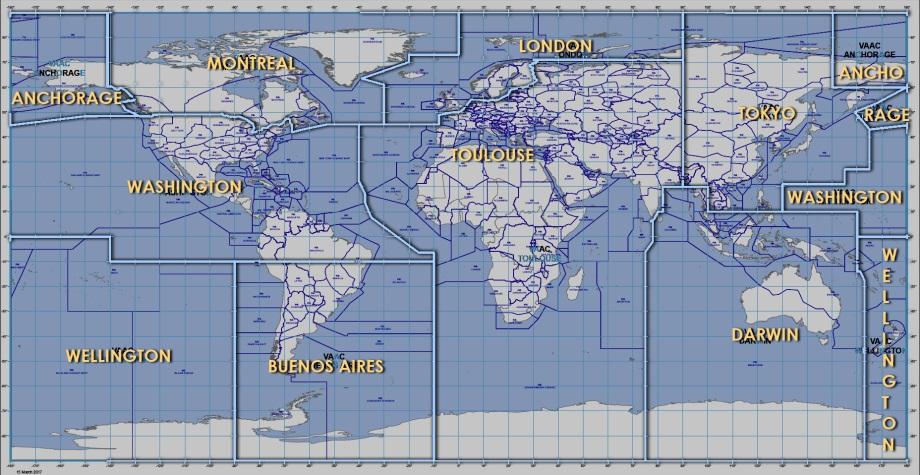 The VAAC zones.